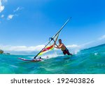 windsurfing  fun in the ocean ... | Shutterstock . vector #192403826