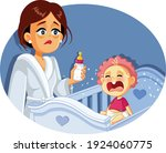 tired mother holding milk... | Shutterstock .eps vector #1924060775