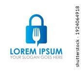 lock fork vector   food logo | Shutterstock .eps vector #1924064918