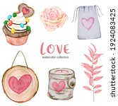 set of big isolated watercolor... | Shutterstock .eps vector #1924083425