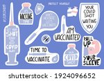 vaccination lettering stickers...   Shutterstock .eps vector #1924096652
