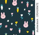rabbit seamless pattern. cute... | Shutterstock .eps vector #1924100672