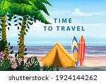 time to travel. tourist tent...   Shutterstock .eps vector #1924144262
