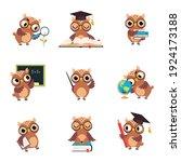 wise brown owl in various... | Shutterstock .eps vector #1924173188