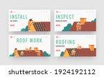 roofer men with work tools... | Shutterstock .eps vector #1924192112