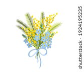 a bouquet of mimosa and forget... | Shutterstock .eps vector #1924195235