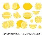 set of yellow ripe lemons  ...   Shutterstock .eps vector #1924239185