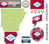 map of arkansas state  us with... | Shutterstock .eps vector #1924242395