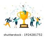 golden trophy cup  symbol of... | Shutterstock .eps vector #1924281752