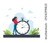 hurrying woman and stopwatch.... | Shutterstock .eps vector #1924299815