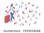 isometric people in airport... | Shutterstock .eps vector #1924326068