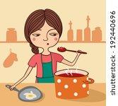 illustration of girl cook... | Shutterstock .eps vector #192440696