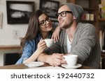 happy man and woman in cafe | Shutterstock . vector #192440732