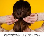 back view shot of a fair haired ... | Shutterstock . vector #1924407932
