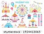 colorful amusement park flat...   Shutterstock .eps vector #1924413065