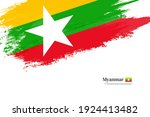 stylish brush flag of myanmar.... | Shutterstock .eps vector #1924413482