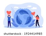 volunteers with red hearts... | Shutterstock .eps vector #1924414985