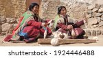 Small photo of leh,ladakh - 21 February 2020 :-Changpa men and women both spin and weave, but focus on different fibres techniques. Men mostly spin and weave yak hair, whereas women spin and weave wool.