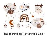 boho kids clipart with cartoon... | Shutterstock .eps vector #1924456055