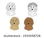 set of portraits of labradoodle.... | Shutterstock .eps vector #1924458728