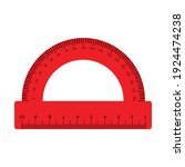 red protractor ruler isolated... | Shutterstock .eps vector #1924474238