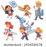 back to school. little children ... | Shutterstock .eps vector #1924534178