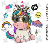 cool cartoon cute unicorn with... | Shutterstock .eps vector #1924565348