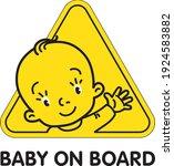 baby on board. funny little boy ... | Shutterstock .eps vector #1924583882