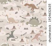 seamless pattern cute dino...   Shutterstock .eps vector #1924632635
