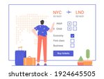 man stands next to suitcases...   Shutterstock .eps vector #1924645505
