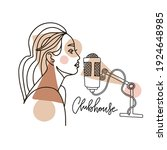 girl recording voice in a... | Shutterstock .eps vector #1924648985