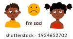 sad children. boy and girl with ...   Shutterstock .eps vector #1924652702