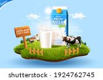 3d milk ad template for product ... | Shutterstock .eps vector #1924762745