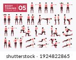 body toning  workout set. women ... | Shutterstock .eps vector #1924822865