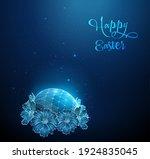 blue egg surrounded by flowers. ... | Shutterstock .eps vector #1924835045