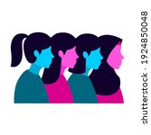 four women of different hair... | Shutterstock .eps vector #1924850048