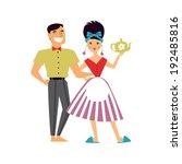 retro romantic family couple...   Shutterstock .eps vector #192485816