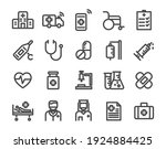 thin line icons set of hospital ... | Shutterstock .eps vector #1924884425