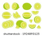 set of green ripe lime   whole  ...   Shutterstock .eps vector #1924893125
