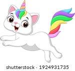 cartoon funny unicorn cat... | Shutterstock .eps vector #1924931735