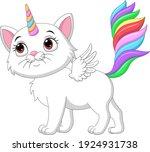 cartoon cute unicorn cat with... | Shutterstock .eps vector #1924931738