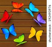 Rainbow Butterflies On Wooden...