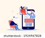 onlone cardiologist doctor...   Shutterstock .eps vector #1924967828