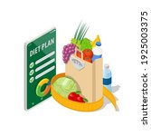 isometric healthy food and diet ... | Shutterstock .eps vector #1925003375