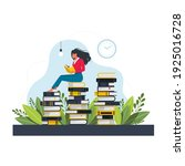 young woman sitting and reading ...   Shutterstock .eps vector #1925016728
