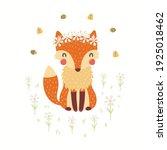cute funny fox in daisy crown ... | Shutterstock .eps vector #1925018462