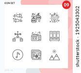 group of 9 modern outlines set... | Shutterstock .eps vector #1925043302