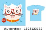 cute cat with glasses cartoon... | Shutterstock .eps vector #1925123132