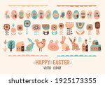 happy easter. vector set of... | Shutterstock .eps vector #1925173355
