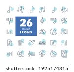music notes flat vector icons...
